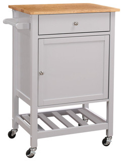Kitchen Cart With Wooden Top Natural and Gray