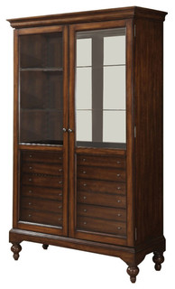 Commodious Wooden Curio Cabinet Cherry Brown