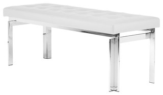 """Vincent Occasional Bench Naugahyde Leather Polished Stainless Steel 47"""" White"""