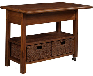 Alpine Furniture Caldwell Kitchen Cart Antique Cappuccino 6079-05
