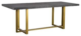 """Elle Brass Leg Reclaimed Wood Dining Table 83"""""""