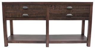 Emerson Solid Wood 2-Drawer Sideboard Rustic Walnut