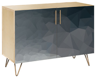 Midnight Topography Hairpin Credenza Natural/Brass