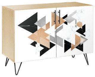 Marble & Gold Hairpin Credenza Natural/Black