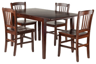 Anna 5-Piece Dining Table Set With Slat Back Chairs