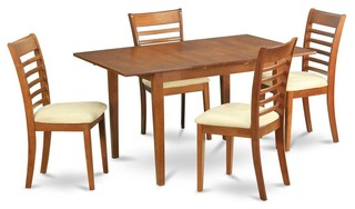 5-Piece Dining Set Saddle Brown Finish