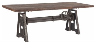 Industrial Steel Crank Adjustable Table