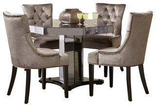 Smoked Mirrored Octagon Pedestal Table With Chrome Velvet Chairs