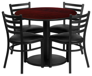 Round Mahogany Laminate Table and 4-Ladder Back Metal Chairs Black Vinyl Seat