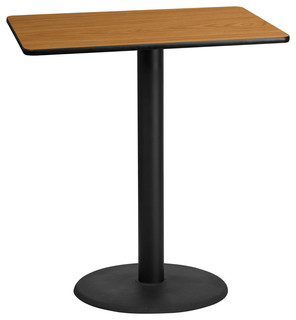 Rectangular Natural Laminate Table Top With 24'' Round Bar Height Table Base