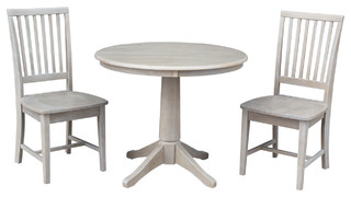 """Wood 36"""" Round Dining Table and Mission Chairs in Weathered Gray 3-Piece Set"""