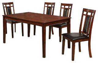 Transitional Cherry Wood 5 Piece Dinette Set