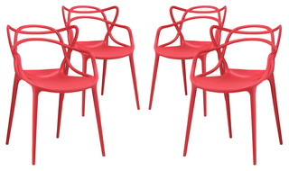 Entangled Dining Arm Chairs Set of 4 Red