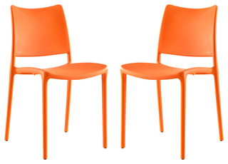 Hipster Dining Side Chairs Set of 2 Orange