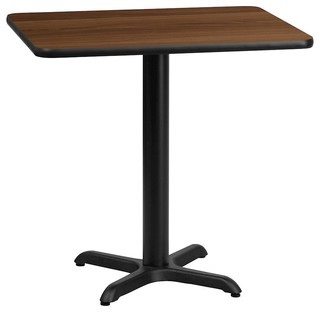 "Flash 24""x30"" Rectangular Walnut Laminate Table Top With 22""x22"" Height Base"