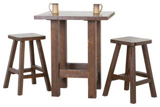 Barnwood Pub Table Set Weathered Finish