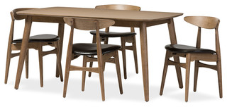 """Edna Black Faux Leather and """"Oak"""" Light Brown Finishing Wood 5-Peice Dining Set"""