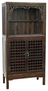 Consigned Antique 19th Century Chinese Lattice Cabinet