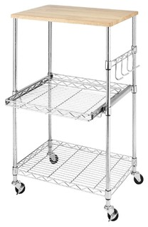 Sturdy Metal Kitchen Microwave Cart With Adjustable Shelves Locking Wheels