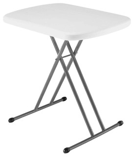 Indoor/Outdoor Folding Table With White Granite Color Plastic Top