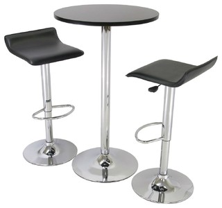 3-Piece Modern Dining Set With Bistro Table Two Stools