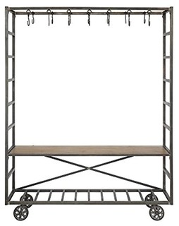 "62.25""x15.25""x78"" Metal Cart and Bench With Hooks KD"