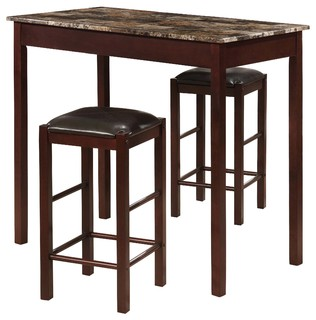 3-Piece Counter Height Faux Marble Top Breakfast Bar Set Espresso