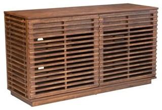 Scandinavian-Style Fir Wood Storage Credenza