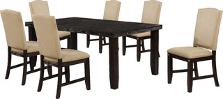 Rustic Cappuccino Extension Dining Set Khaki Fabric 7-Piece