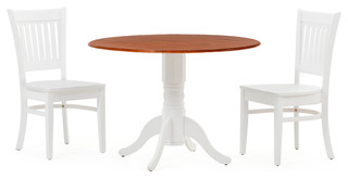 "42"" Round Dining Room Table Set in White Cherry Top/True White 3 Piece Set"
