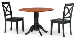 """42"""" Round Dining Room Table Set in Black Cherry Top 3 Piece"""
