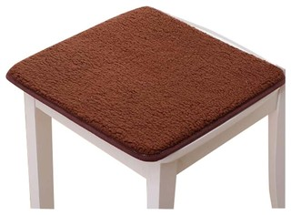 Winter Thicker Stool Mat Warm Cushion Plush Non Slip Office Mat Brown