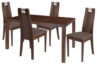 Harlesden 5-Piece Wood Dining Table Set Chairs With Padded Seats Walnut