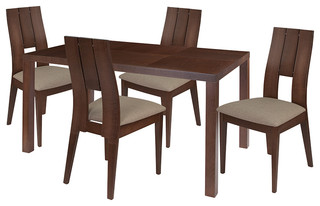 Dalston 5-Piece Wood Dining Table Set Dining Chairs With Padded Seats Walnut