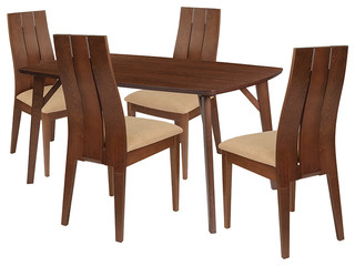 Dearborn 5-Piece Wood Dining Table Set Dining Chairs With Padded Seats Walnut