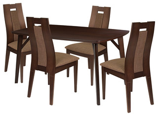 Jefferson 5-Piece Wood Dining Table Set Chairs With Padded Seats Espresso