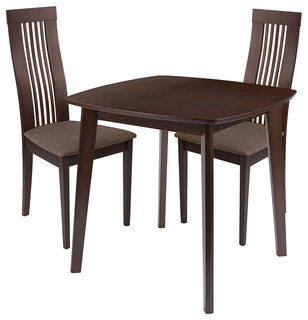 Bristol 3-Piece Wood Dining Table Set Chairs With Padded Seats Espresso