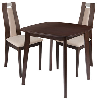 Stonington 3-Piece Wood Dining Table Set Chairs With Padded Seats Espresso