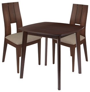 Greenwich 3-Piece Wood Dining Table Set Chairs With Padded Seats Walnut
