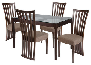 Oakdale 5-Piece Wood Dining Table Set Chairs With Padded Seats Clear/Espresso
