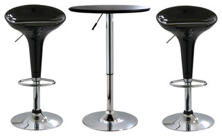 Offex 3-Piece Adjustable Height Bar Table and Stool Set Black/Silver