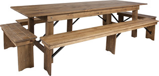 "4-Piece 9'x40"" Antique Rustic Folding Farm Table and Bench Set"