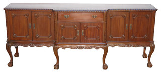 Consigned Vintage 8' Mahogany Chippendale Dining Room Sideboard VINC220-8