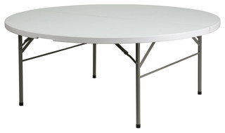 "72"" Round Bi-Fold Granite Plastic Folding Table"