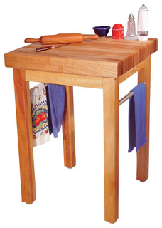 Catskill Craftsmen French Country Butcher Block Work Table in Natural Finish