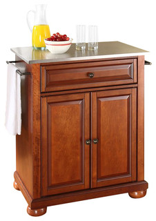 Crosley Furniture Alexandria Stainless Steel Top Cherry Kitchen Island