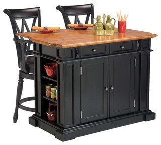 Kitchen Island and 2 Deluxe Bar Stools Black and Distressed Oak
