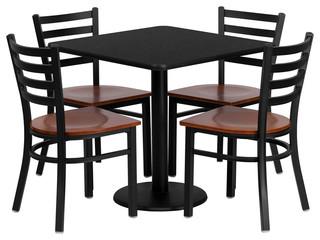 Flash Furniture 30'' Square Black Laminate Table Set