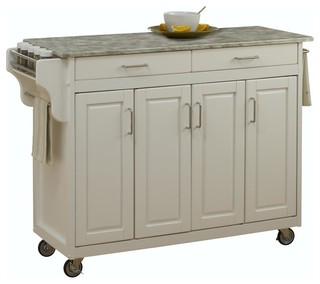 Concrete Top Kitchen Cart in White