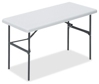 Lorell Ultra Light Banquet Table Rectangle 24 X 48 X 29 Steel Platinum